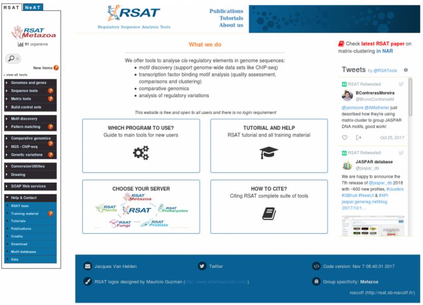 RSAT Metazoa web page